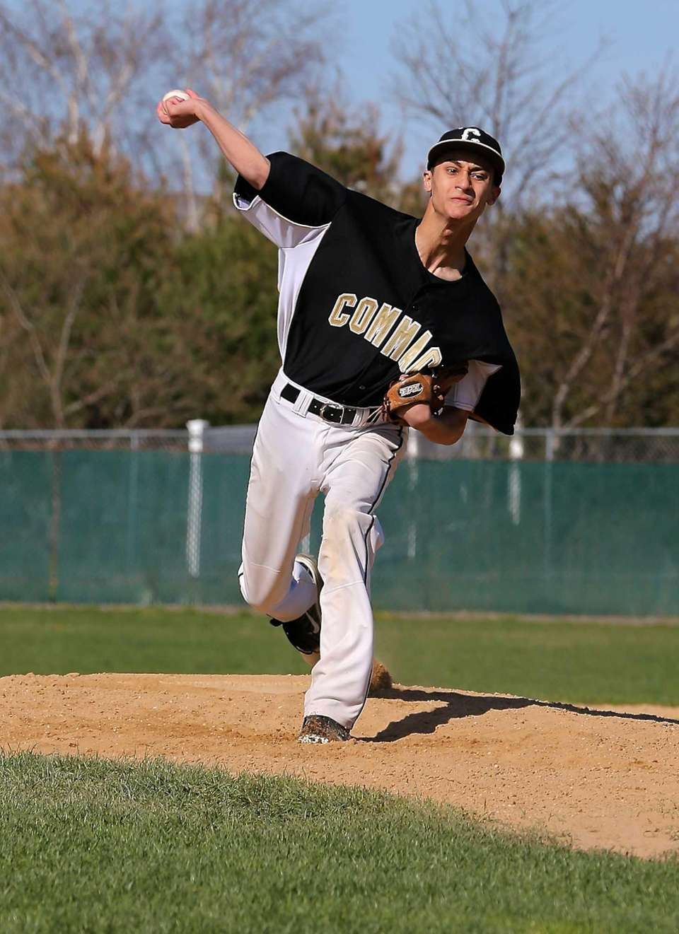 Commack starting pitcher Vincent Negri delivers a pitch