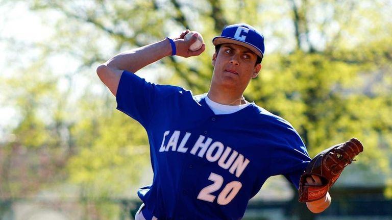 Calhoun pitcher Zach Mastrangelo (20) delivers a pitch