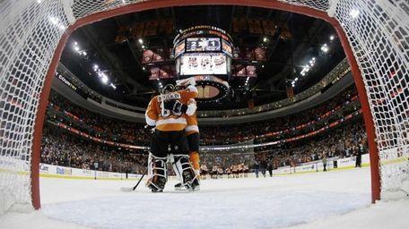 The Philadelphia Flyers' Ilya Bryzgalov and Jakub Voracek
