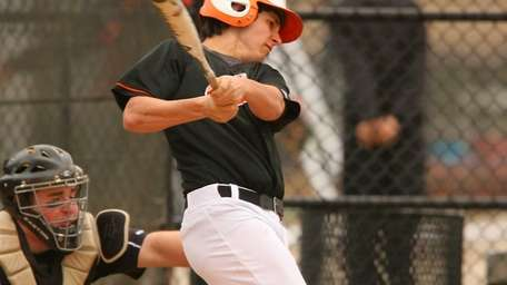 Hicksville's Andrew Purcell leads off with a first-pitch