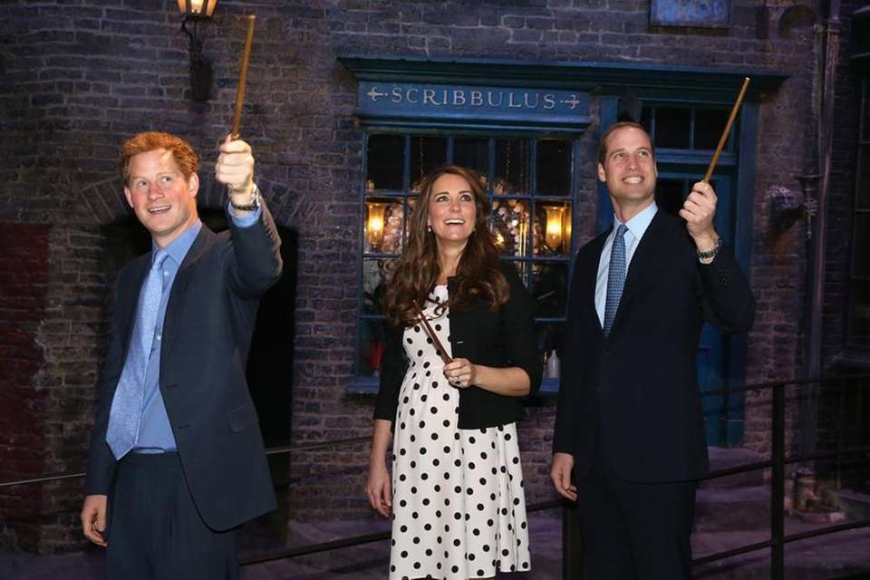 Kate Middleton, Prince William, right, and Prince Harry