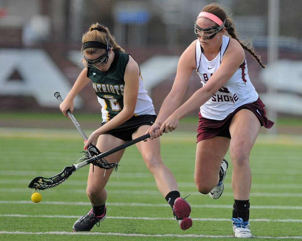 Ward Melville's Kelsey Catalano, left, and Bay Shore's