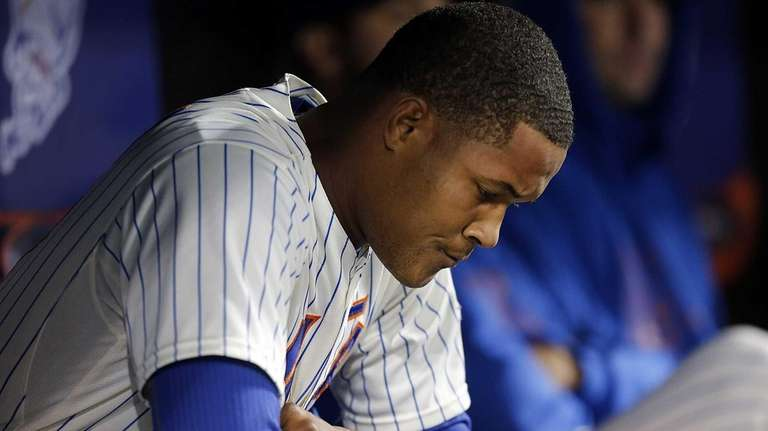 Mets relief pitcher Jeurys Familia looks on in
