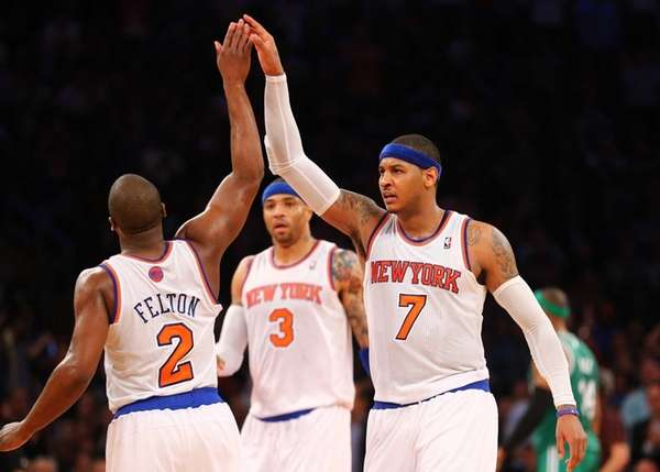 Carmelo Anthony of the Knicks celebrates with Raymond