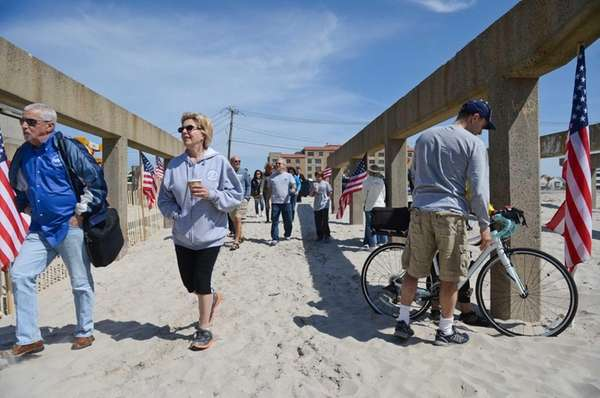 Residents enter the beach at Riverside Boulevard in