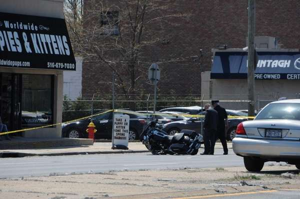 Nassau County police are investigating a motorcycle accident