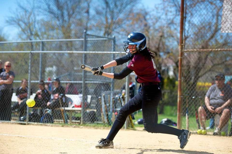 Mepham shortstop Ashely Boscarino gets a base hit