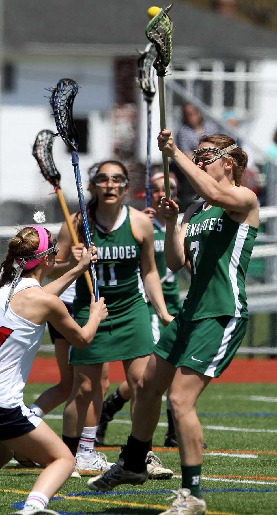 Harborfields' Sarah Crowley scores against Cold Spring Harbor.