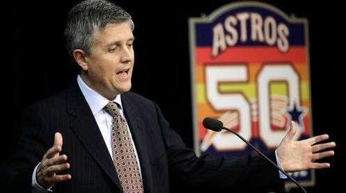 Houston Astros general manager Jeff Luhnow answers a