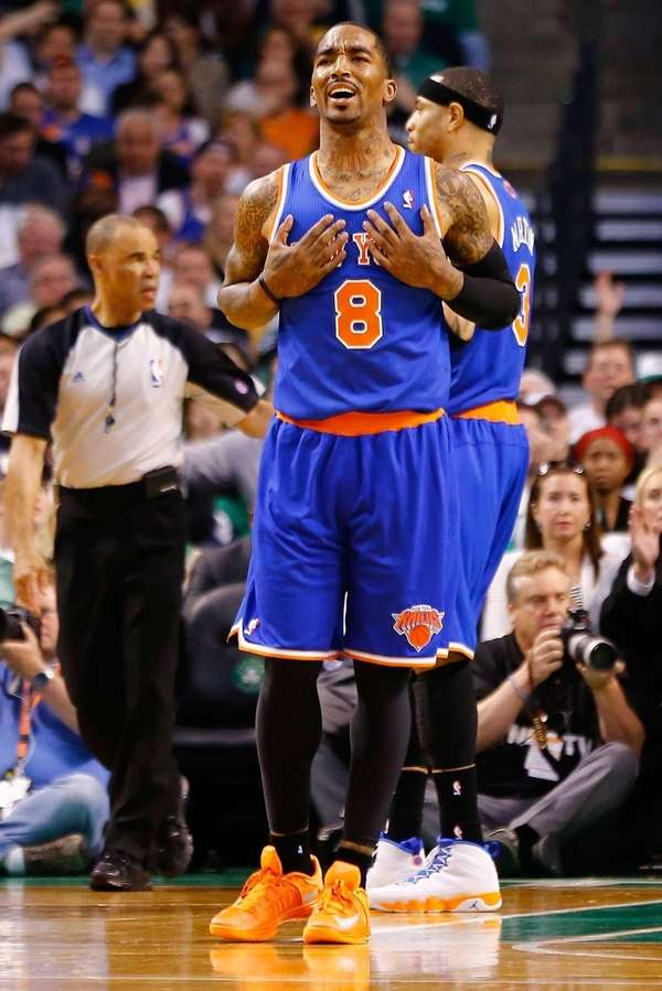 J.R. Smith of the Knicks reacts following a