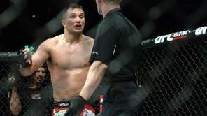 Gian Villante argues with the referee after a
