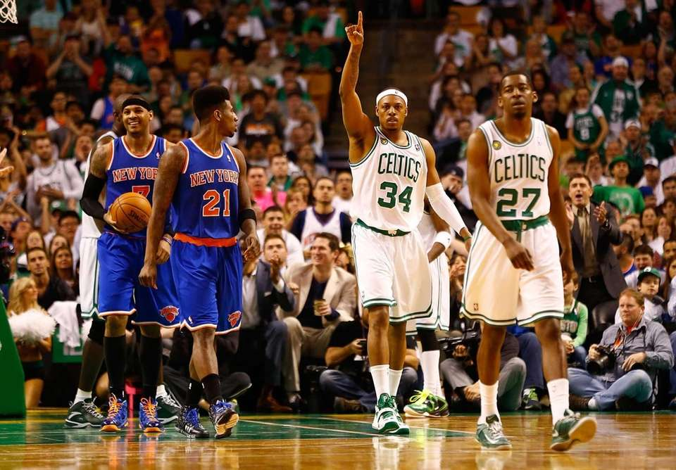 Boston Celtics forward Paul Pierce celebrates and gestures