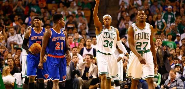 Boston Celtics forward Paul Pierce celebrates and gestures