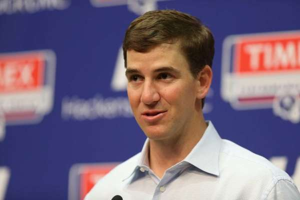 Eli Manning speaks as the Giants held a