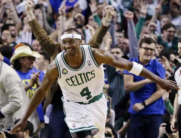 Boston Celtics guard Jason Terry celebrates his basket