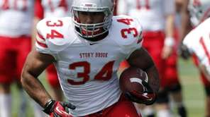 Stony Brook running back Marcus Coker (34) cuts