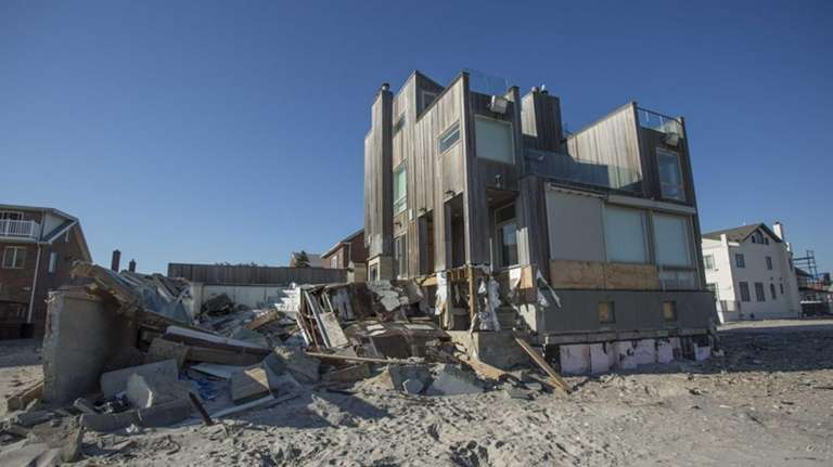 Sandy-inflicted damage is still apparent in homes near