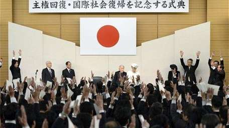 Japan's Prime Minister Shinzo Abe, top left, and