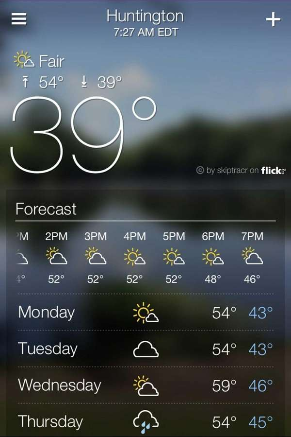 The Yahoo Weather app combines easy-to-read typography and