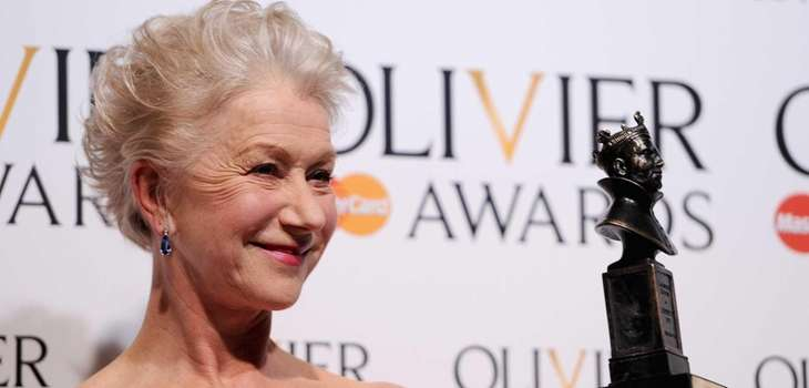 Dame Helen Mirren with her Best Actress award