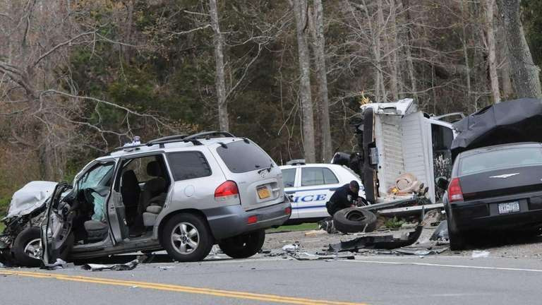 Riverhead police investigate a motor vehicle accident in