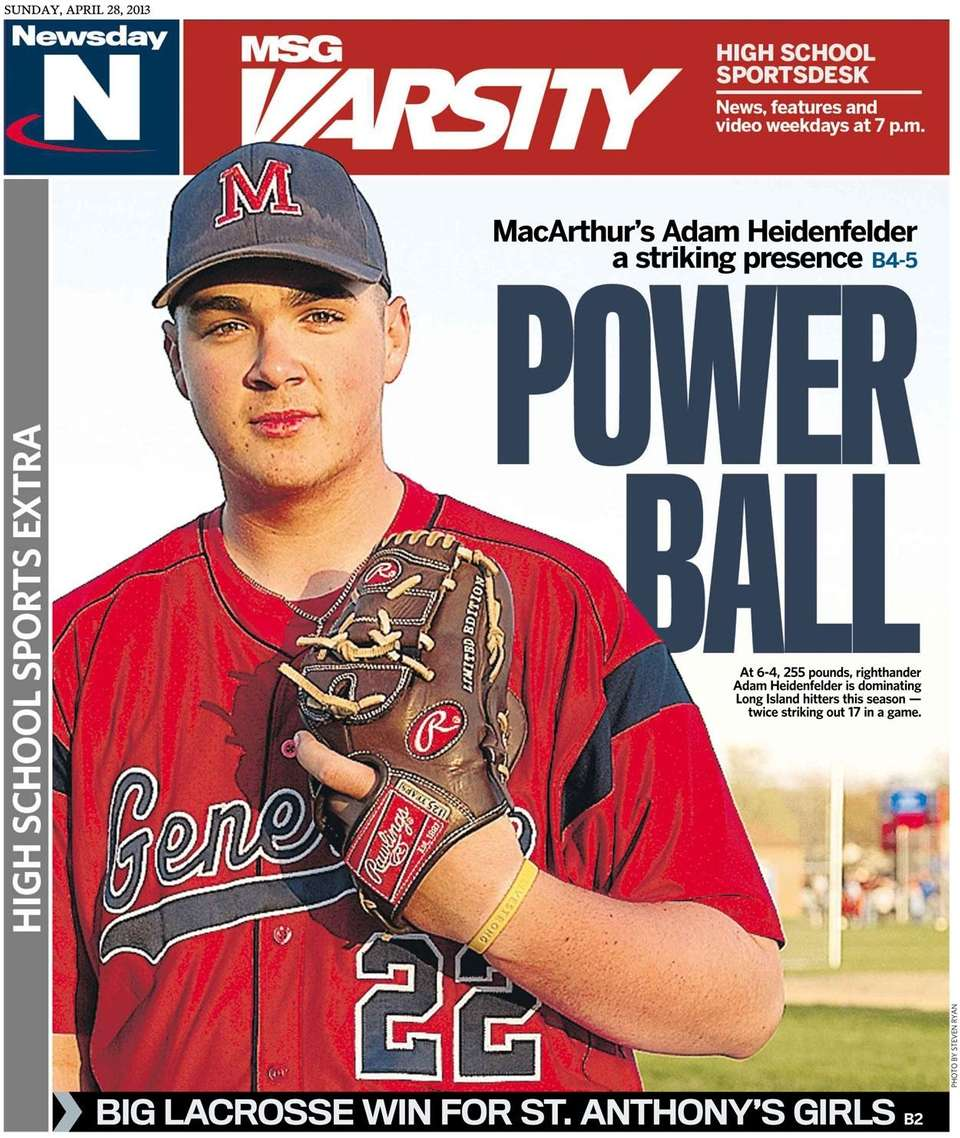 MacArthur pitcher Adam Heidenfelder landed the cover of