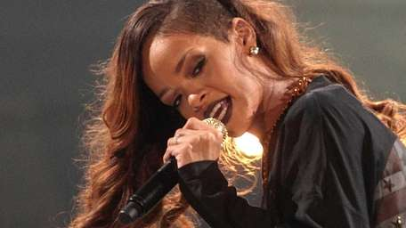 Rihanna, on stage during her