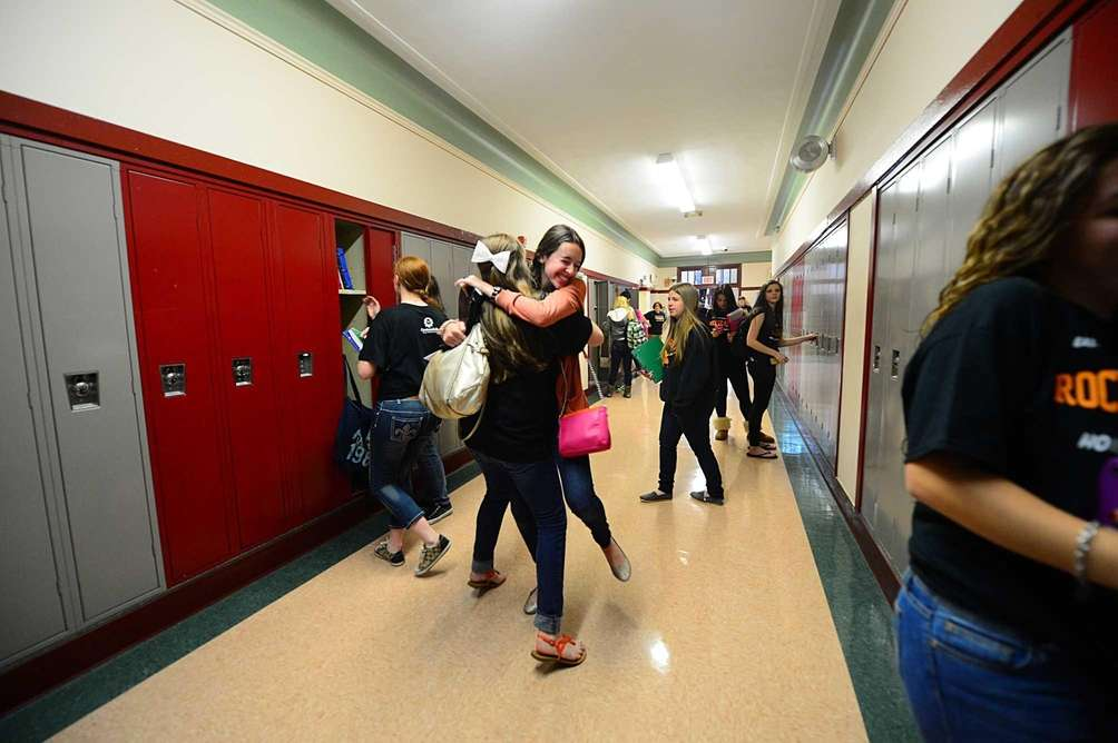 East Rockaway High School students celebrate their return