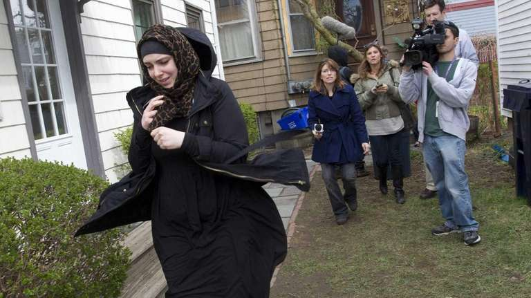 Katherine Russell Tsarnaev, wife of Tamerlan Tsarnaev, leaving