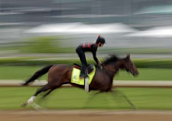 Exercise rider Jenn Patterson rides Kentucky Derby entrant