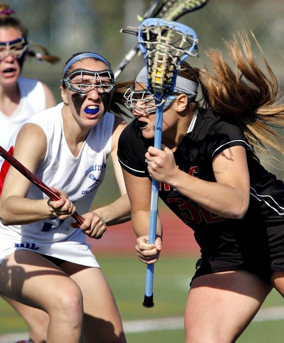 Hills' Alexis Maffucci works behind the goal against