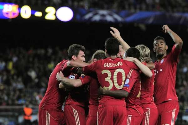 Bayern Munich's players celebrate their victory at the