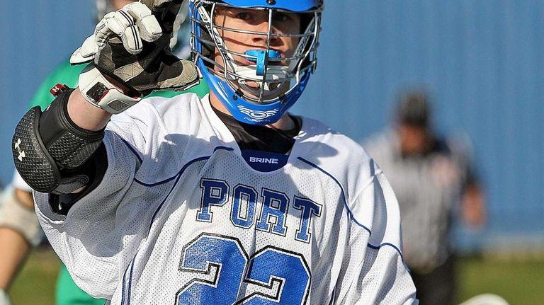 Port Washington's John Crawley celebrates an underhand shot