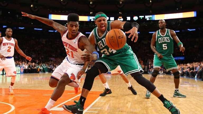 Iman Shumpert of the Knicks and Paul Pierce