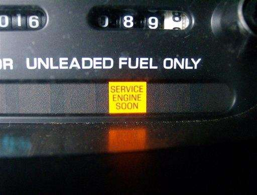 An illuminated service engine light is shown. Unraveling