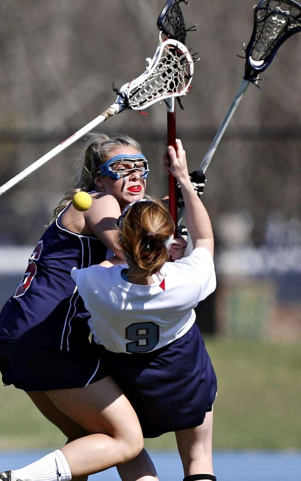 Rocky Point's Kristine Loscalzo loses the ball after
