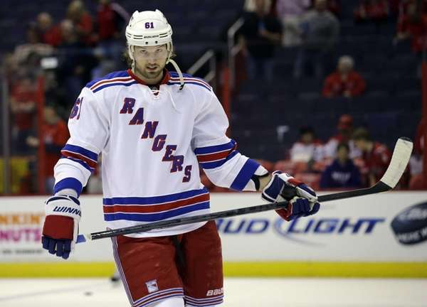 Rangers left wing Rick Nash skates on the