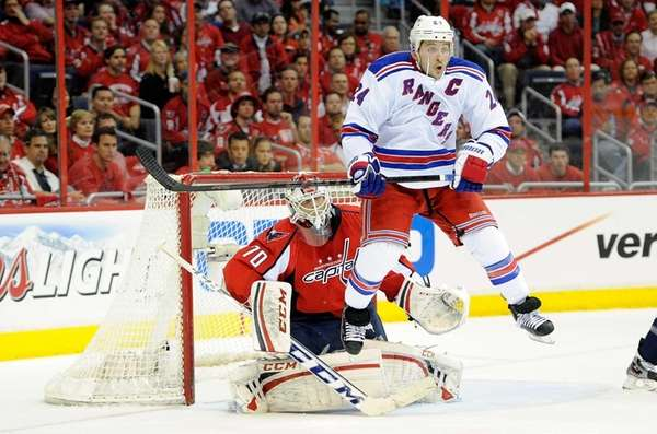 Braden Holtby of the Washington Capitals is screened