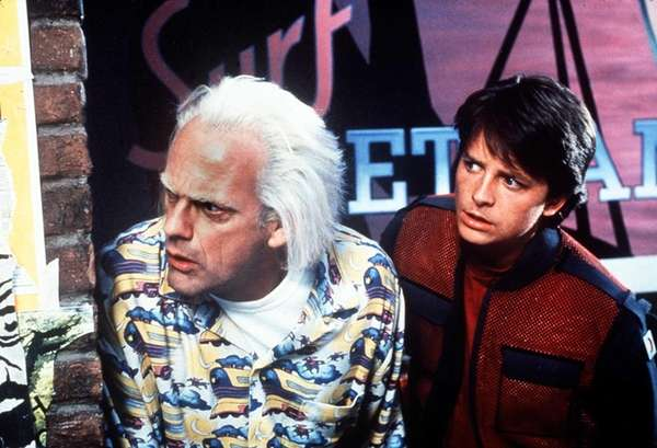 Christopher LLoyd, left, as Doc Brown and Michael