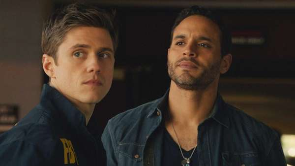 Aaron Tveit (left) as Mike Warren and Daniel