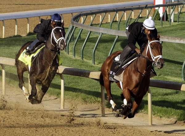 Kentucky Derby hopeful Verrazano, left, with jockey Gary