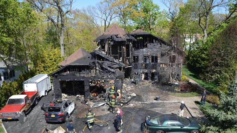 A fire burned much of a East Norwich