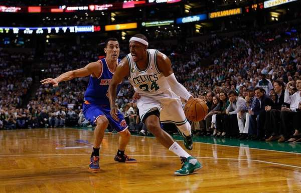 Paul Pierce of the Boston Celtics gets by