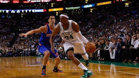 Paul Pierce of the Boston Celtics gets by