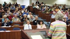 Keynote speaker Simone Campbell talks to hundreds of