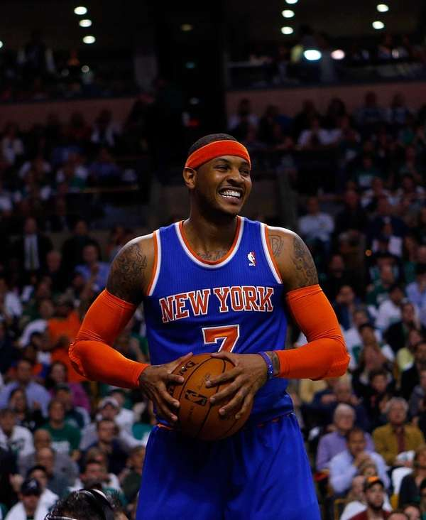 Carmelo Anthony of the Knicks react against the