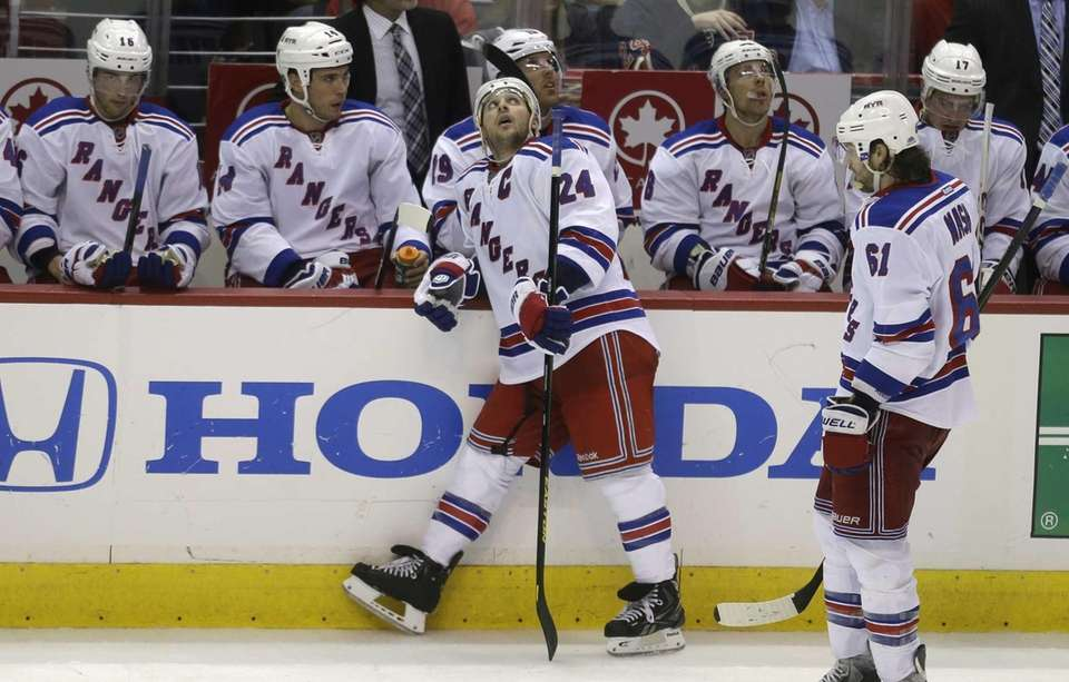 Rangers right wing Ryan Callahan looks at the