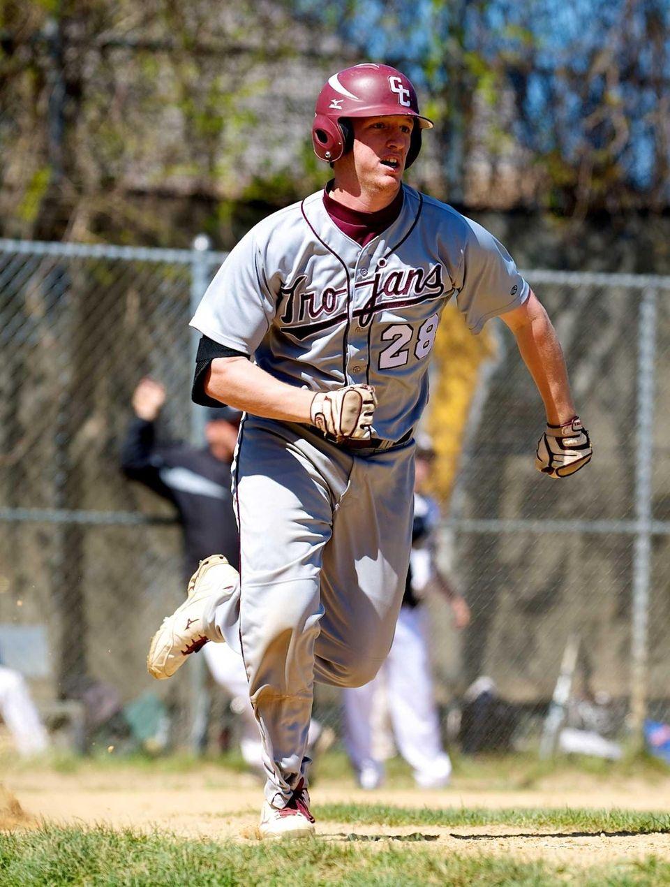 Garden City catcher P.J. Volz runs to first