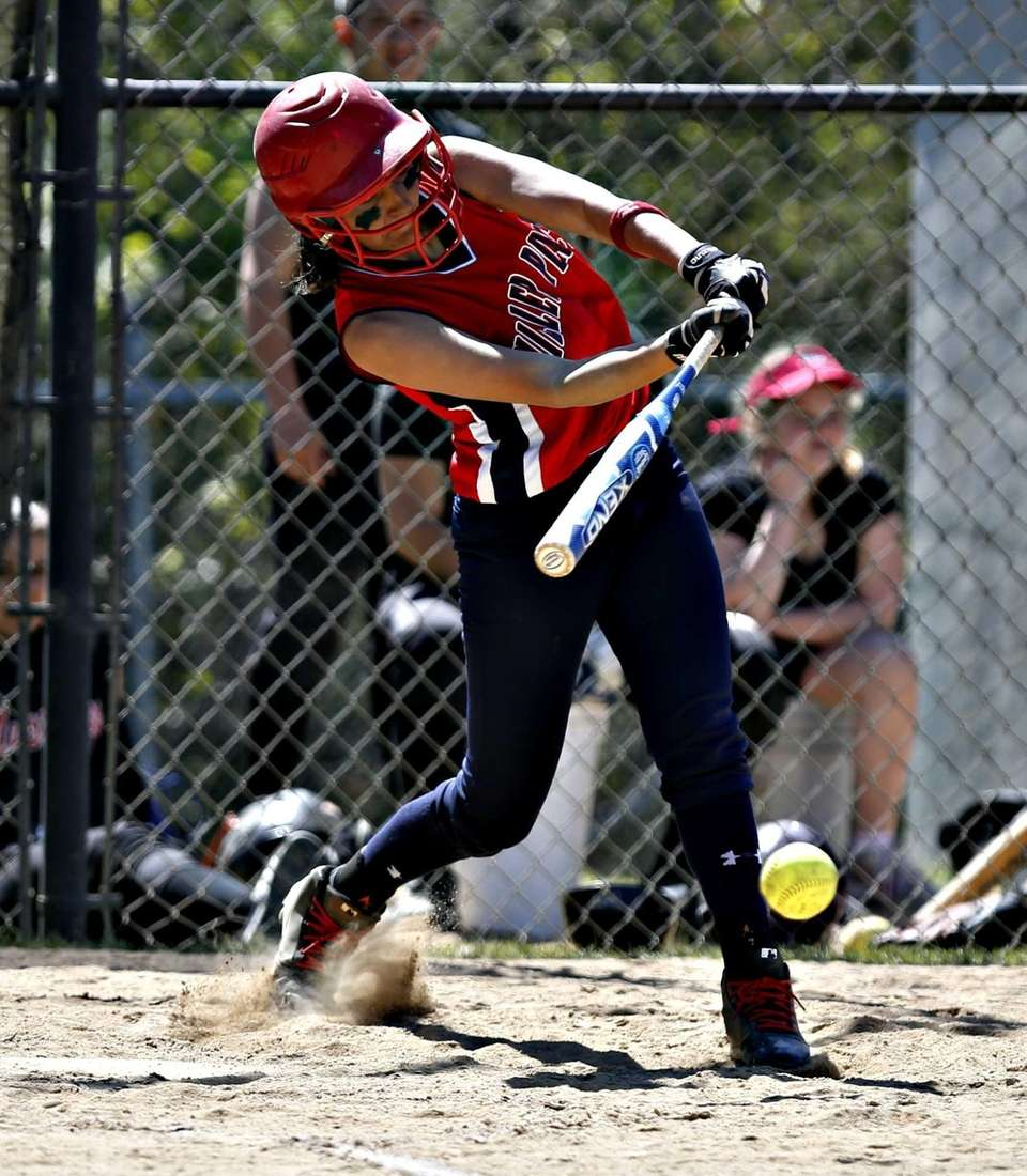 MIller Place's Taylor Ludewig hits an RBI single