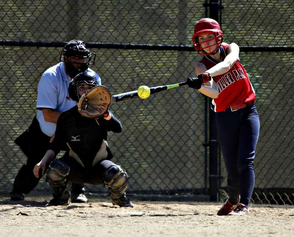 Miller Place's Allie Krumholz singles to left in